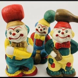 VINTAGE HAND PAINTED CERAMIC CLOWN FIGURINES